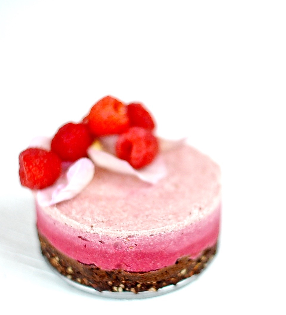 Raw Raspberry Rose Cheesecake