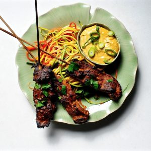 Seitan Satay with Spicy Peanut Sauce (Vegan)