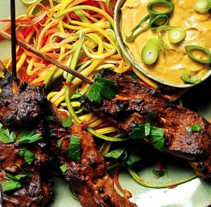 Seitan Satay with Spicy Peanut Sauce, Vegan