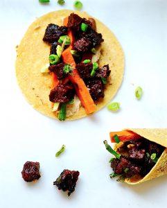 Korean Seitan Tacos, Vegan