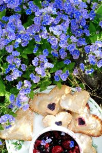 Vegan heart shaped blueberry pop-tarts, in garden.