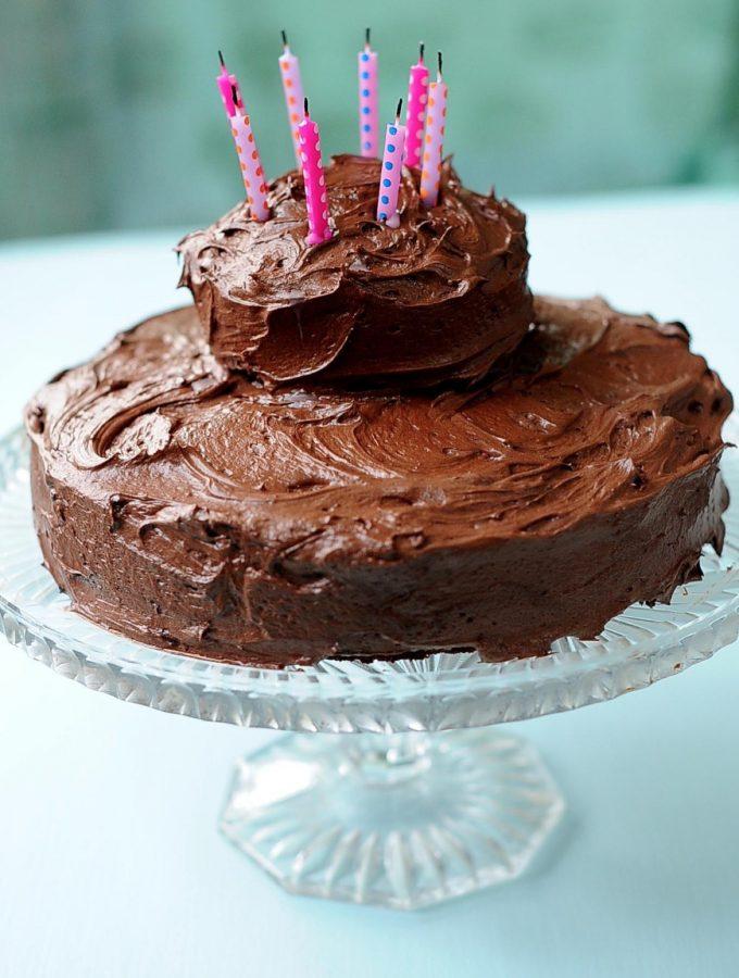 Decadent Chocolate Cake with Kahlúa Fudge Frosting (Vegan)