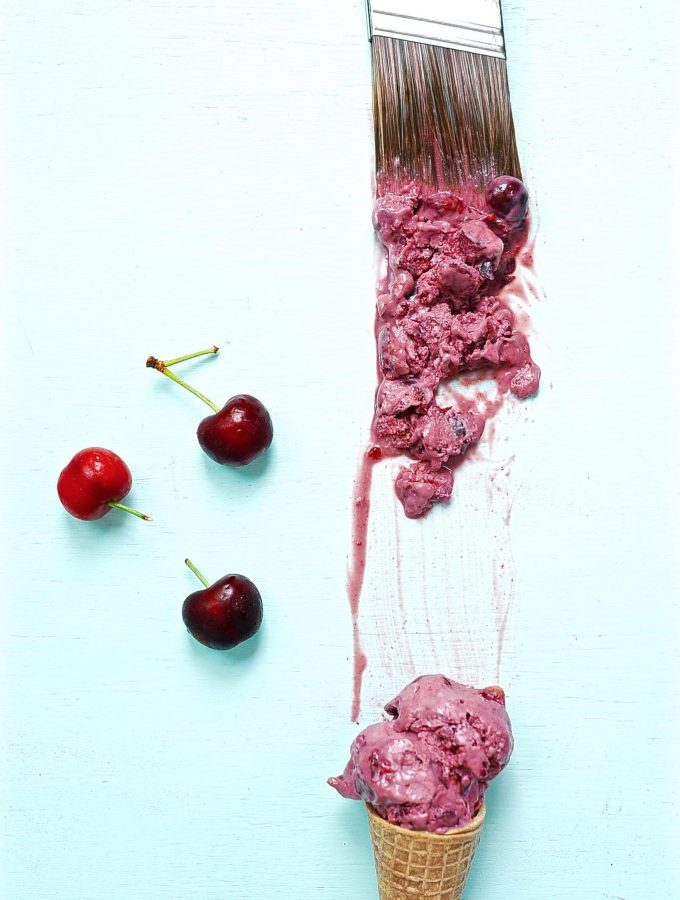 Fresh Cherry Ice Cream and Blueberry Chip Ice Cream (Vegan)