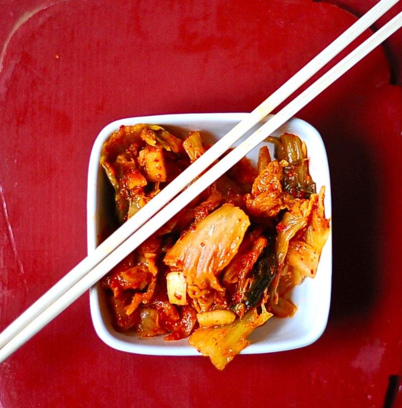 Kimchi on Korean Tacos (Vegan)