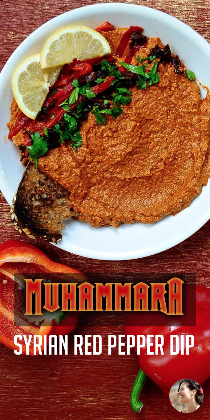 Make this Muhammara recipe for your next party. 5 minutes in the blender and you'll have a delicious, flavor packed roasted red pepper dip with walnuts, roasted  peppers, and pomegranate molasses. Vegan. #sunnysidehanne #dips