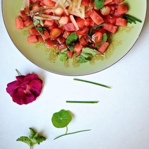 Watermelon Salad with Strawberries and Mint