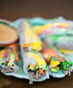 Rainbow Rolls with Cashew Dipping Sauce (Vegan)
