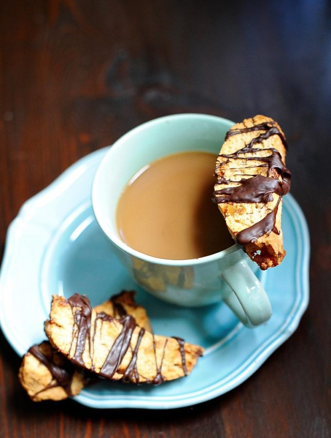 Dark Chocolate Drizzled Crystallized Ginger Biscotti (Vegan)