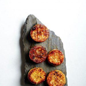 """Vegan """"Scallops"""", Miso Glazed Eggplant"""