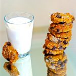 Vegan Pumpkin Pie Breakfast Cookies with a glass o soy milk
