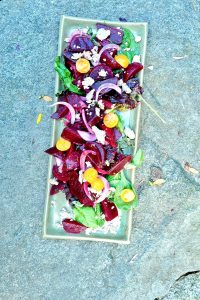 Roasted Beet Salad with Lemon Dressing and Vegan Feta (Vegan)