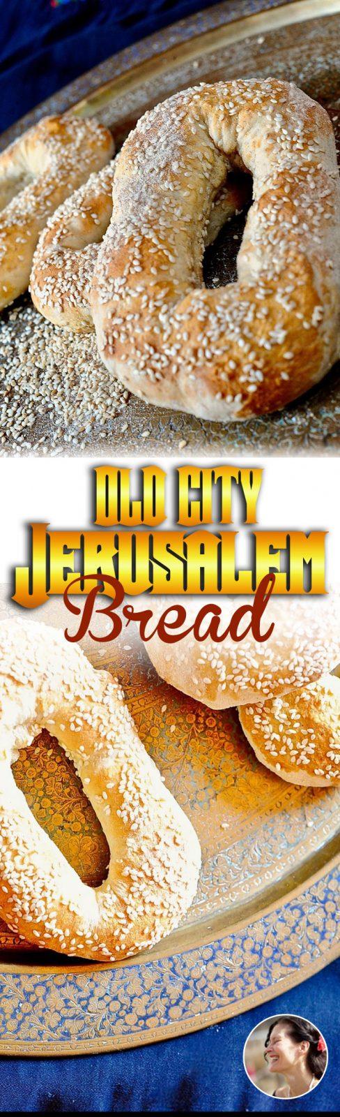 Old City Jerusalem Bread with sesame seeds, vegan, easy.