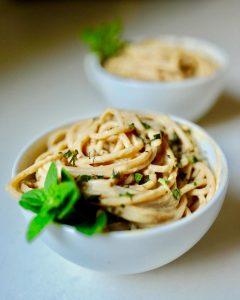Cauliflower Fettuccini Alfredo From the Fuss-Free Vegan Cookbook