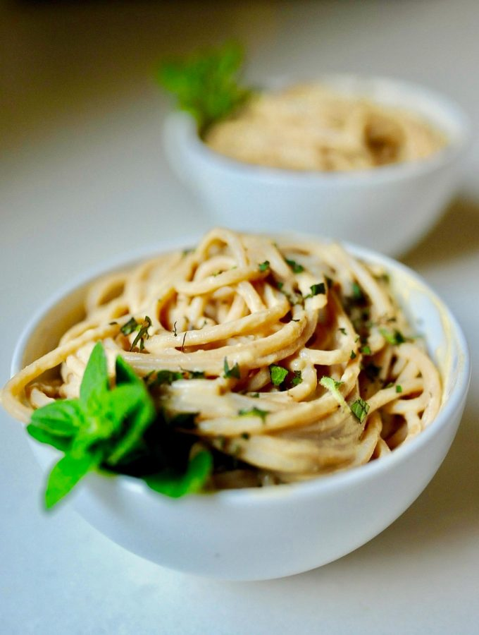 Cauliflower Fettuccini Alfredo From the Fuss-Free Vegan Cookbook