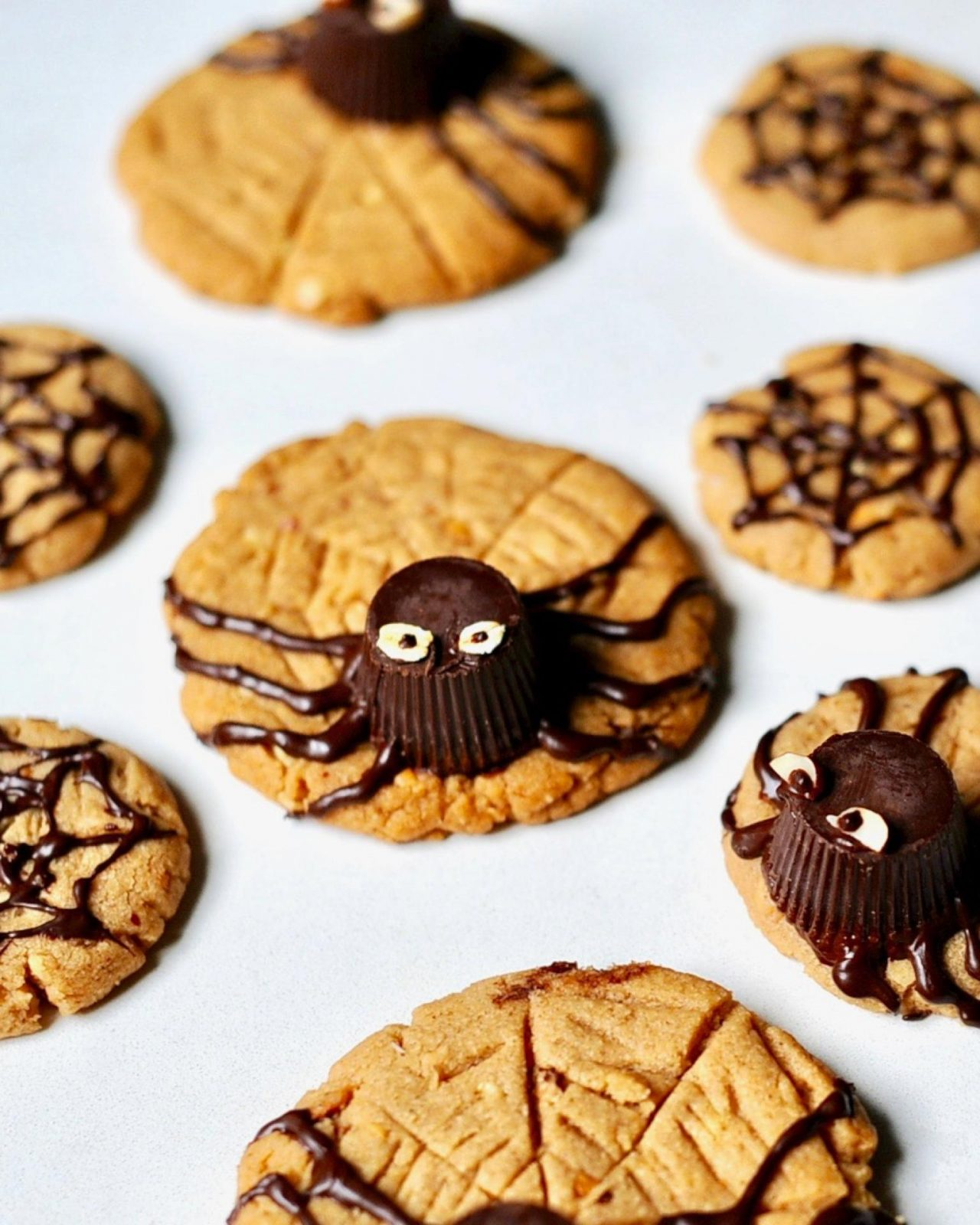 peanut butter spider cookies for halloween (vegan, gluten free