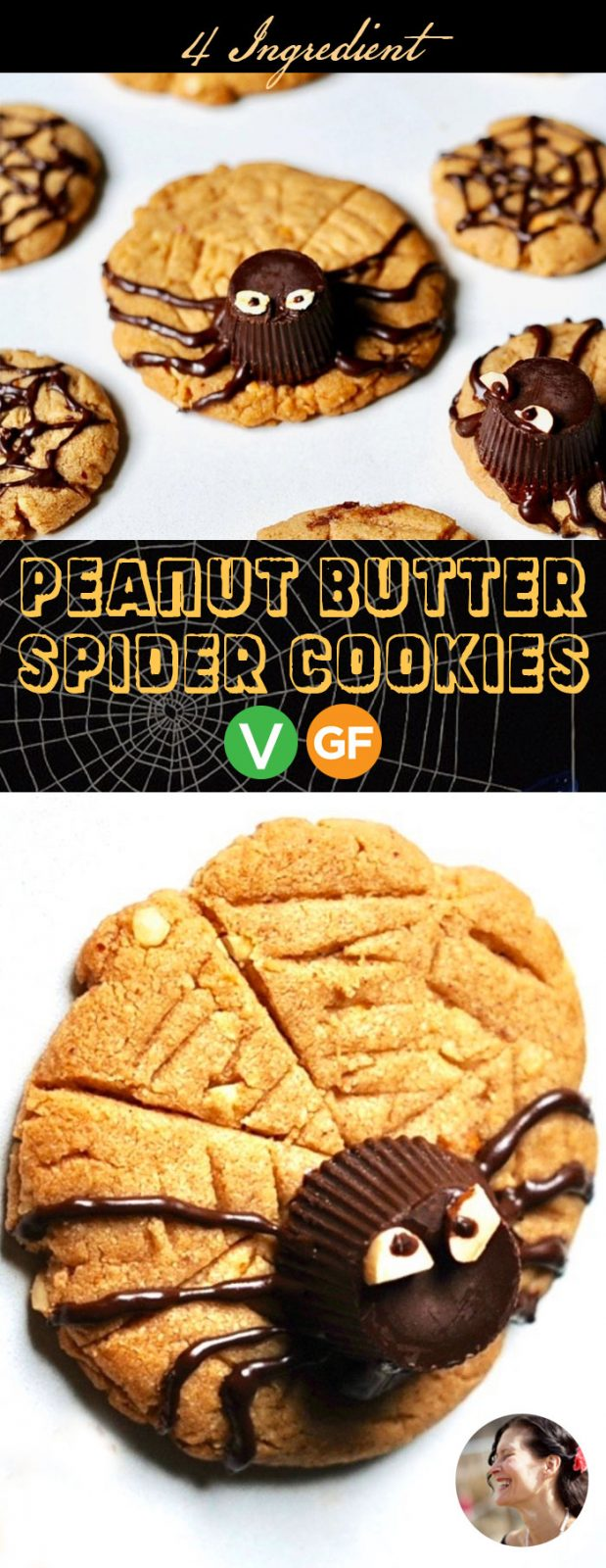 Peanut Butter Spider Cookies for Halloween