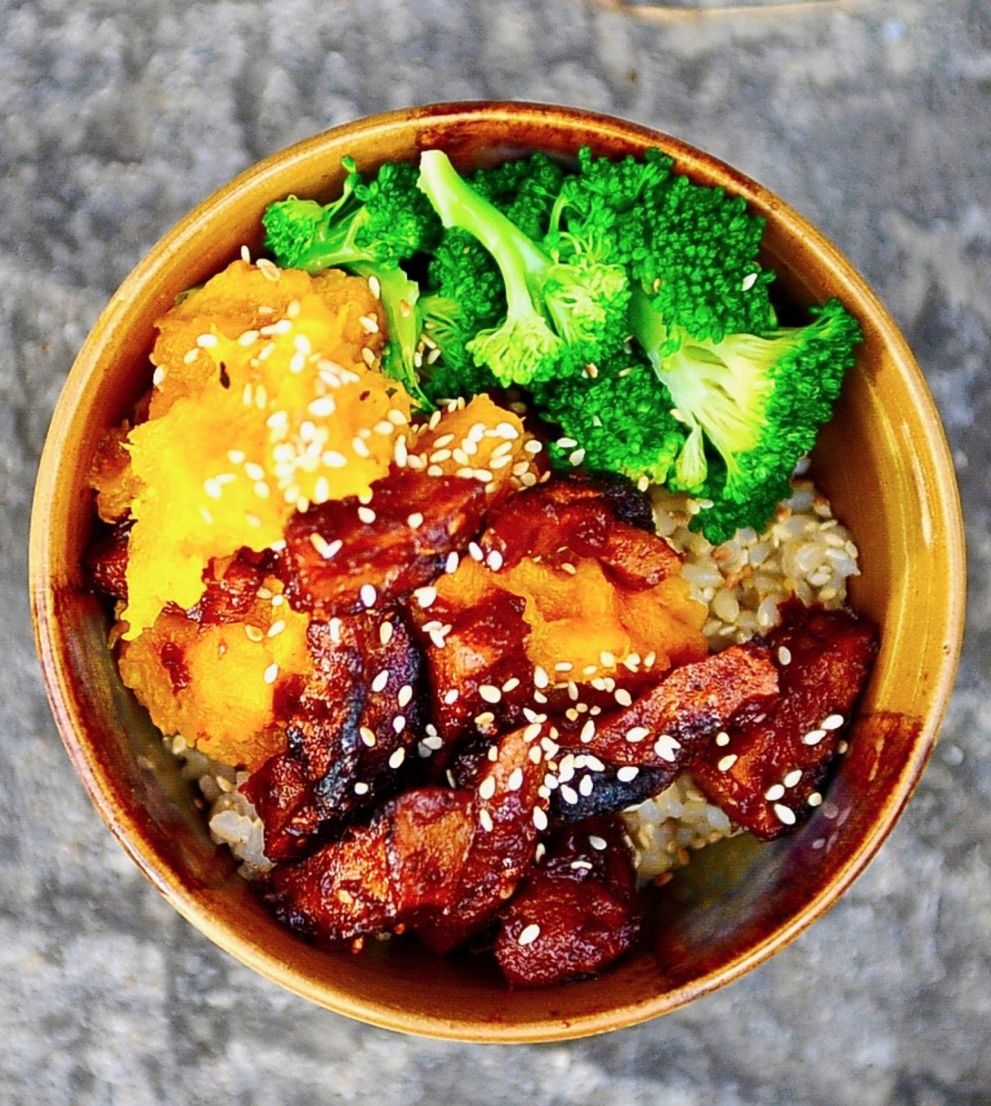 Teriyaki Seitan Bowl with Mashed Winter Squash (Vegan)