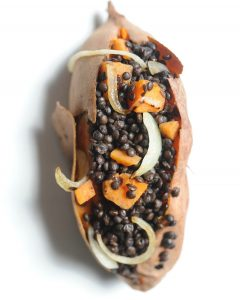 Black Lentil Stuffed Sweet Potato Boats (Vegan, Gluten Free)