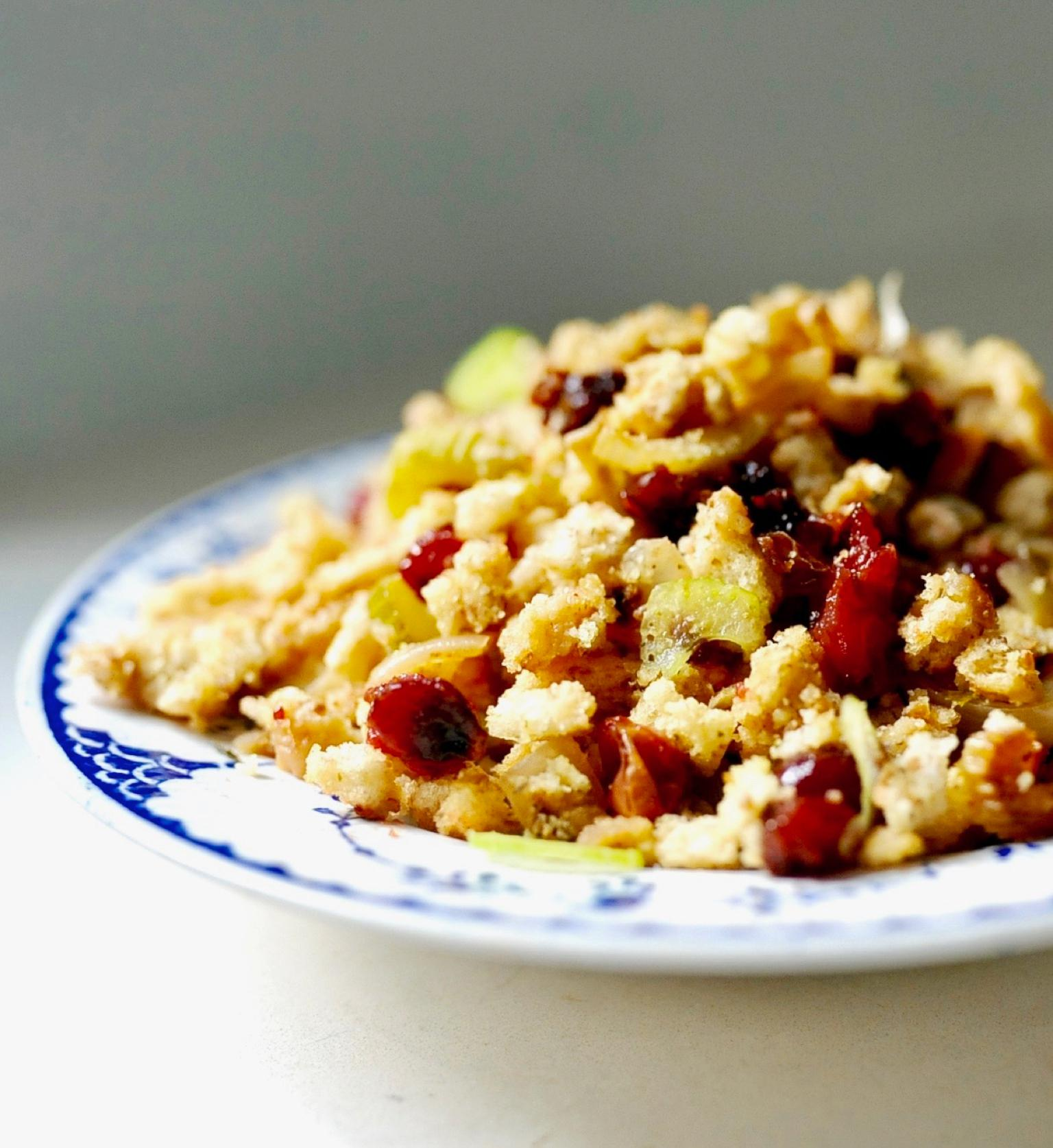 Sourdough Stuffing with Cranberries (Vegan)