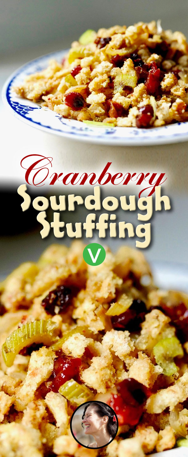 Vegan Sourdough stuffing with cranberries.