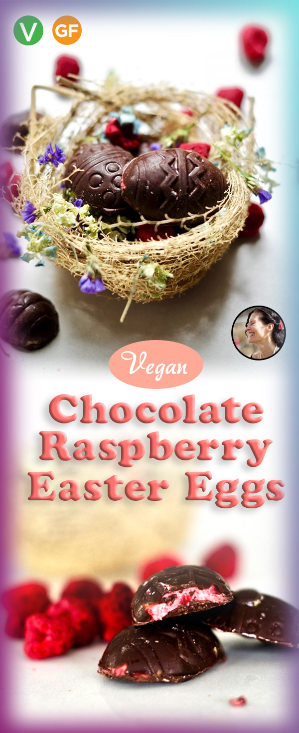 Chocolate Raspberry Cream Vegan Easter Eggs
