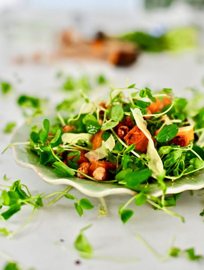 Pea Shoot and Sweet Potato Salad with Sesame Ginger Vinaigrette (Vegan, Gluten Free)