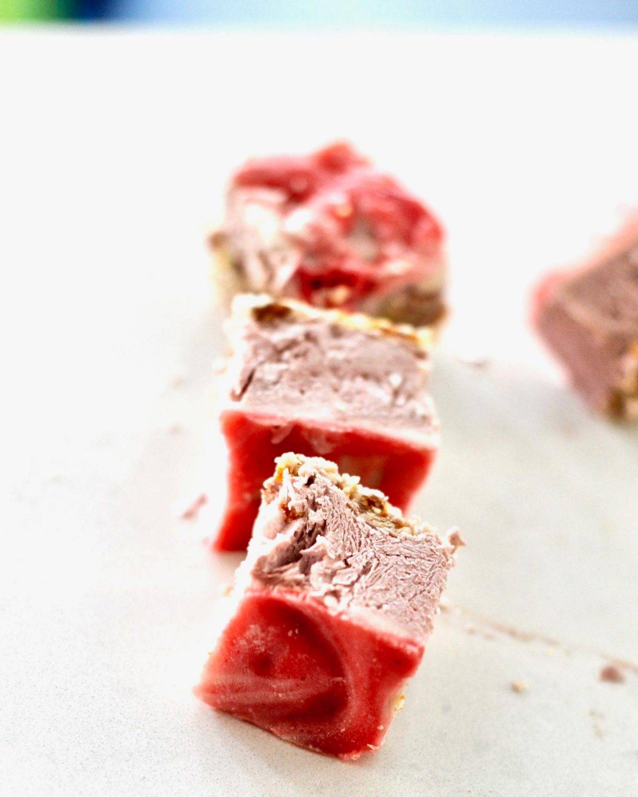 Raw Strawberry Cheesecake Slices (Vegan, Gluten Free)