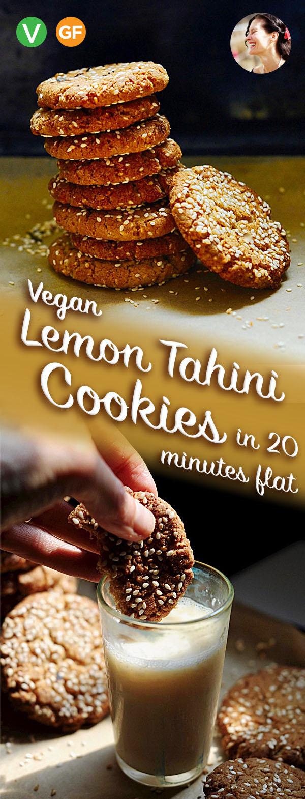 Vegan Lemon Tahini Cookies, Gluten Free