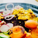 Grilled Peach and Sweet Corn Salad with Zesty Avocado Vinaigrette, Vegan, GF