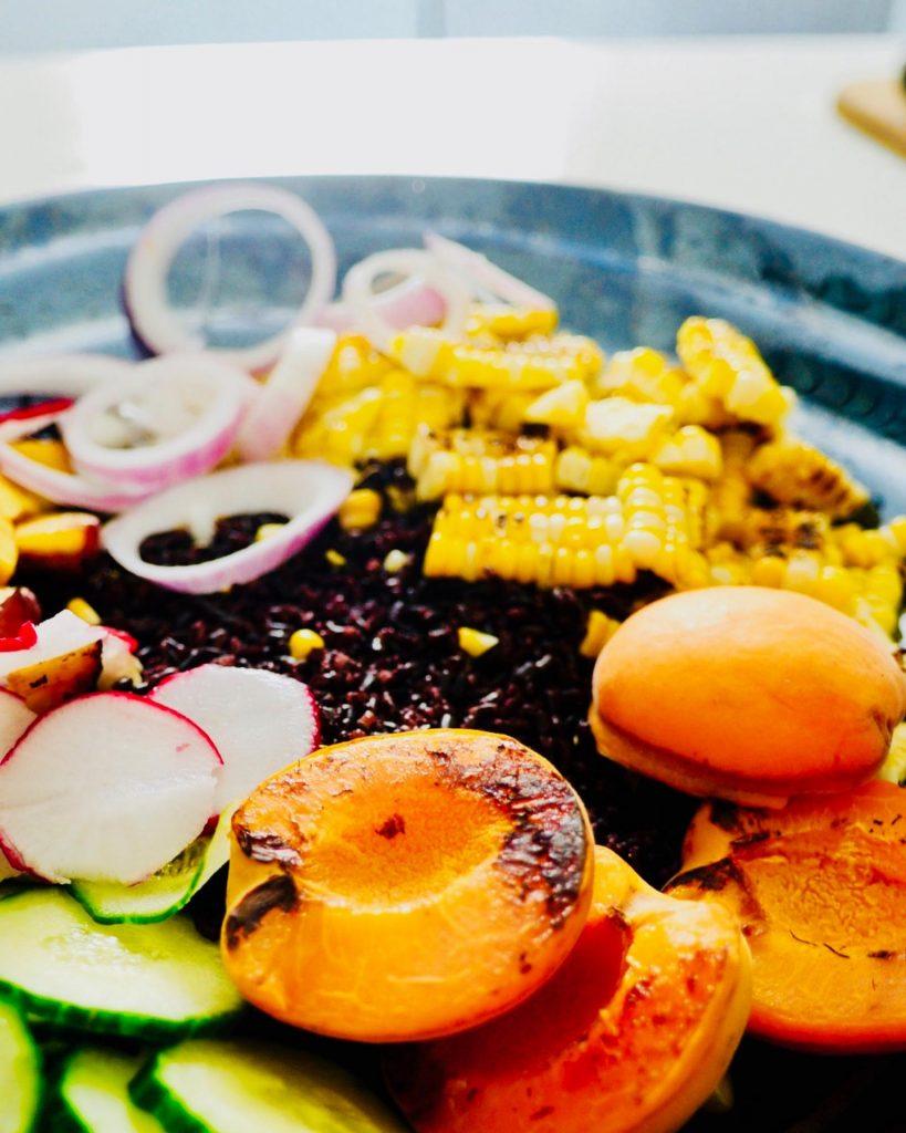 Grilled Peach and Sweet Corn Salad with Zesty Avocado Vinaigrette, Vegan, GF