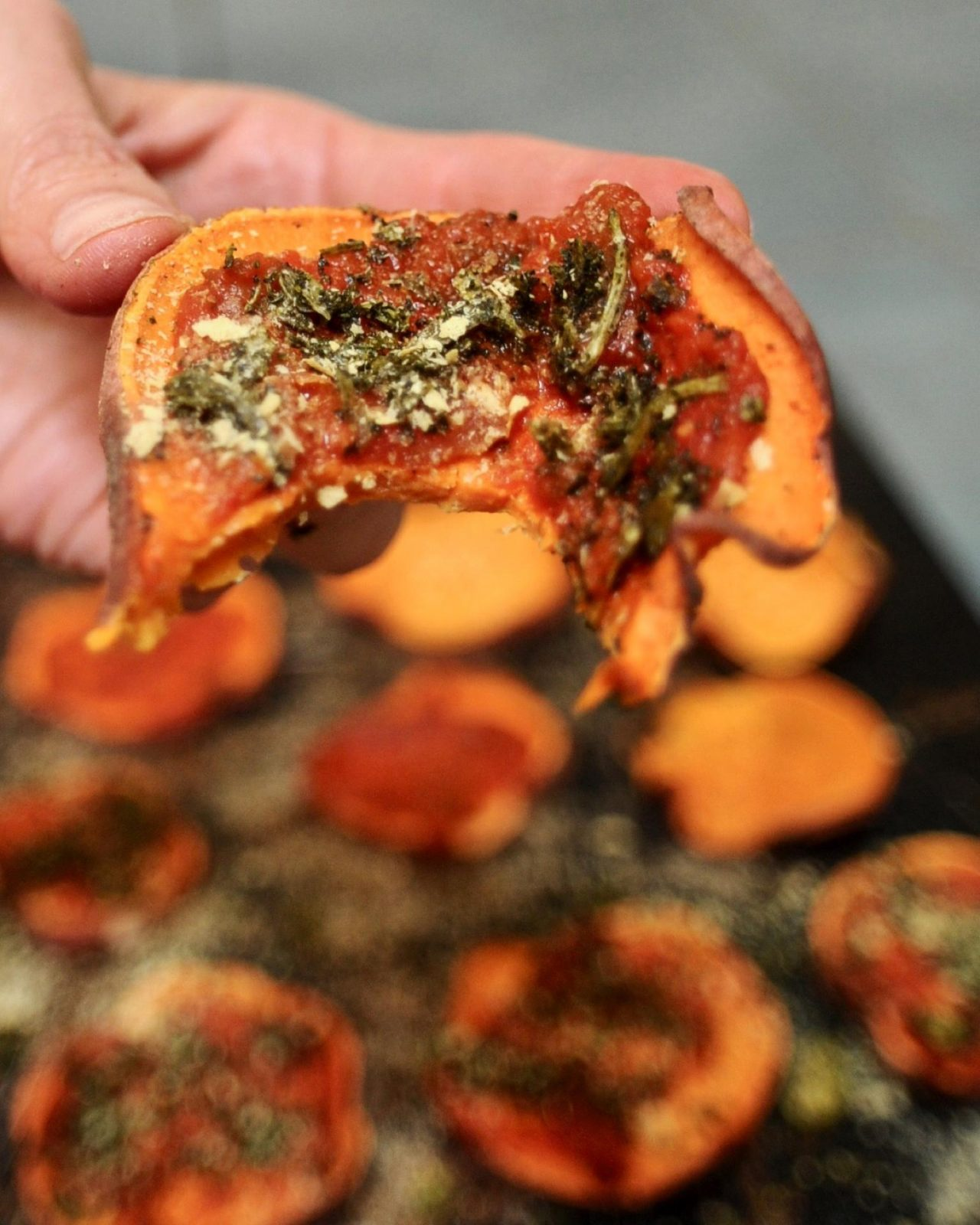 Vegan Sweet Potato Pizza Bites (Gluten Free)