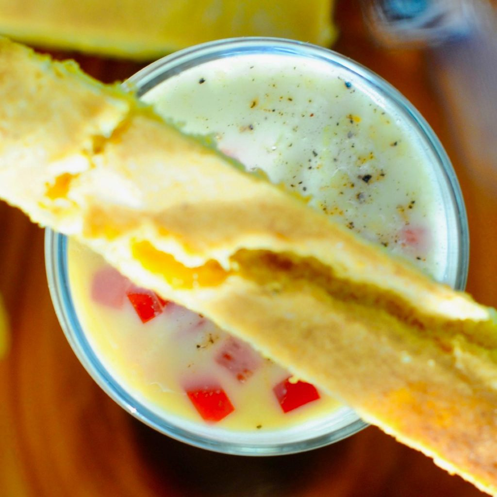 Vegan Corn Chowder Shooters with Cornbread Sticks,, Gluten Free