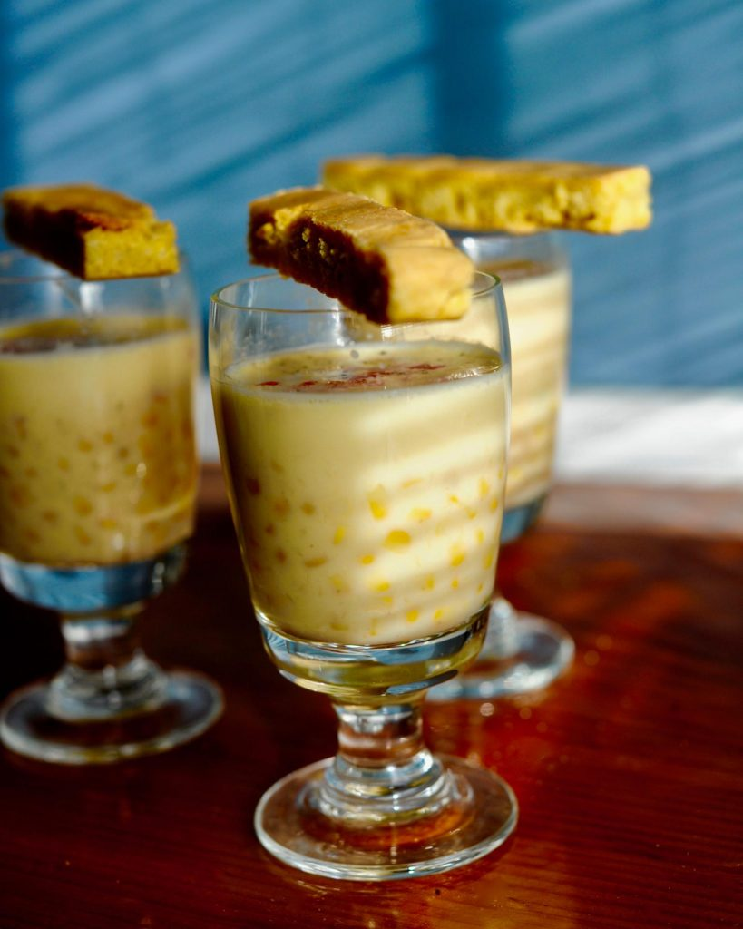 Vegan Corn chowder shooters with Cornbread sticks, gluten free