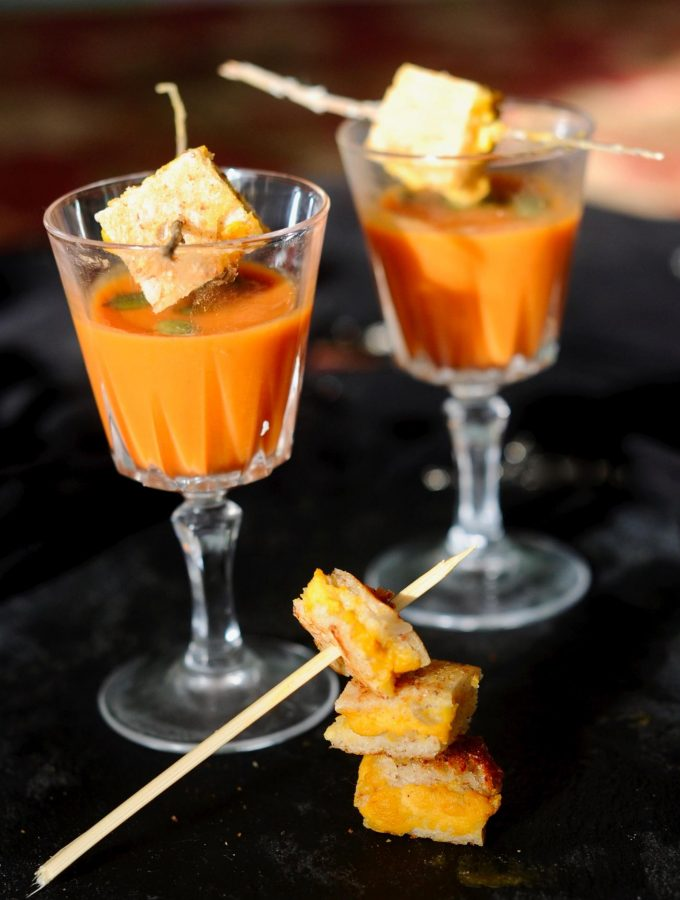 Creamy Tomato Soup Shooters with Mini Grilled Cheese Vegan, Gluten Free