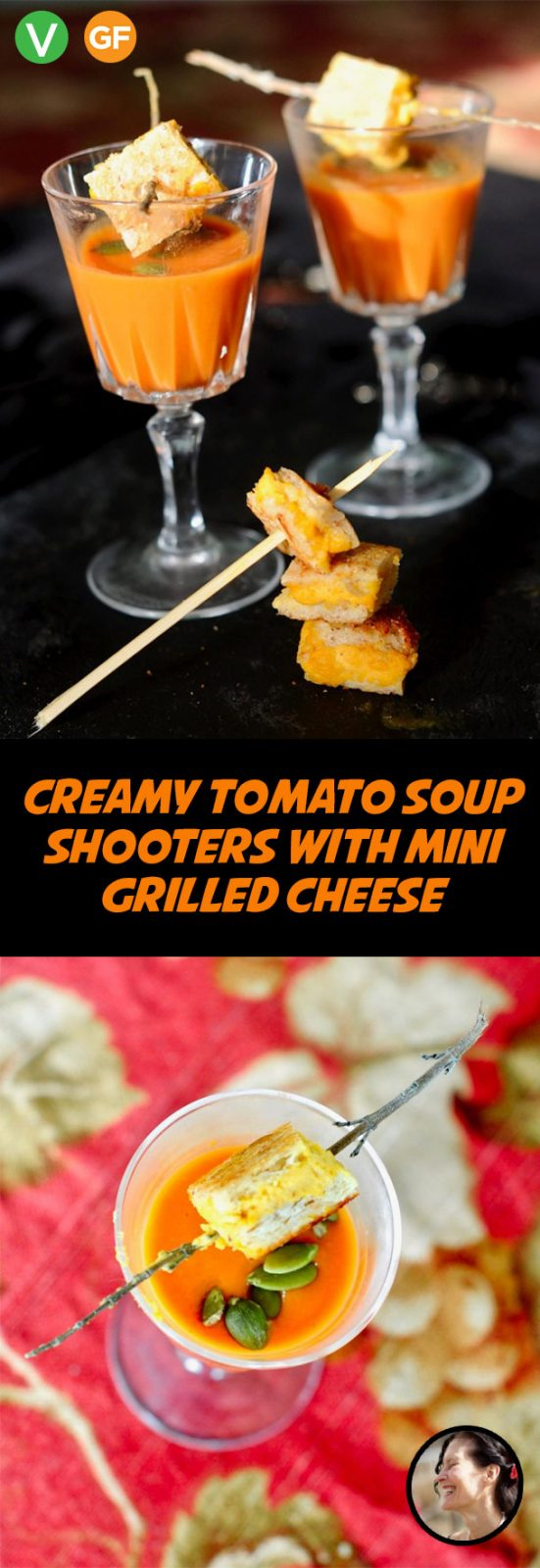 Creamy Tomato Soup Shooters with Mini Grilled Cheese, Vegan, Gluten Free