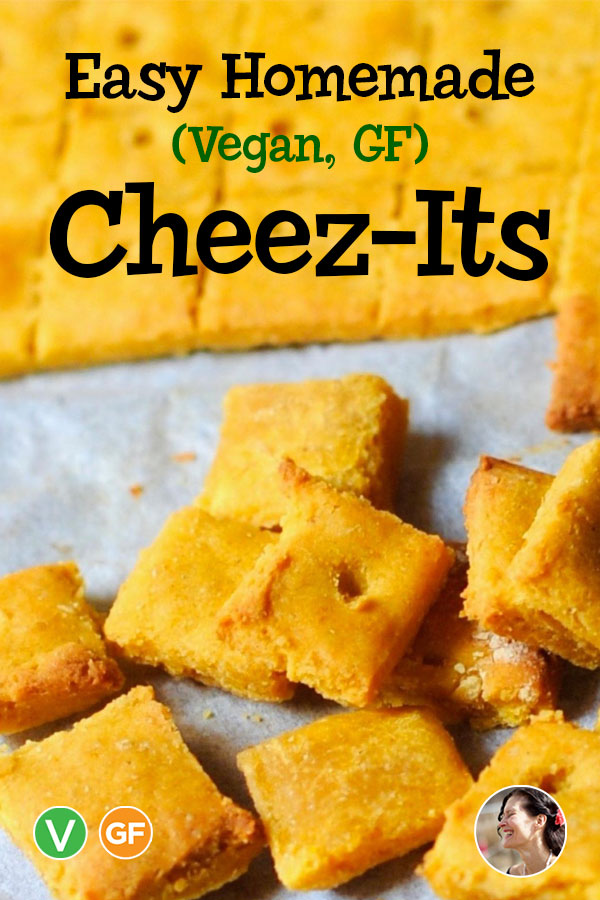 Homemade Cheese-Its, Vegan, Gluten Free - #SunnysideHanne #cheeseits #copycatrecipes #glutenfreesnacks #glutenfreecrackers #glutenfreeveganrecipes #cashewcheese #nutritionalyeast #healthyvegan #wfpb