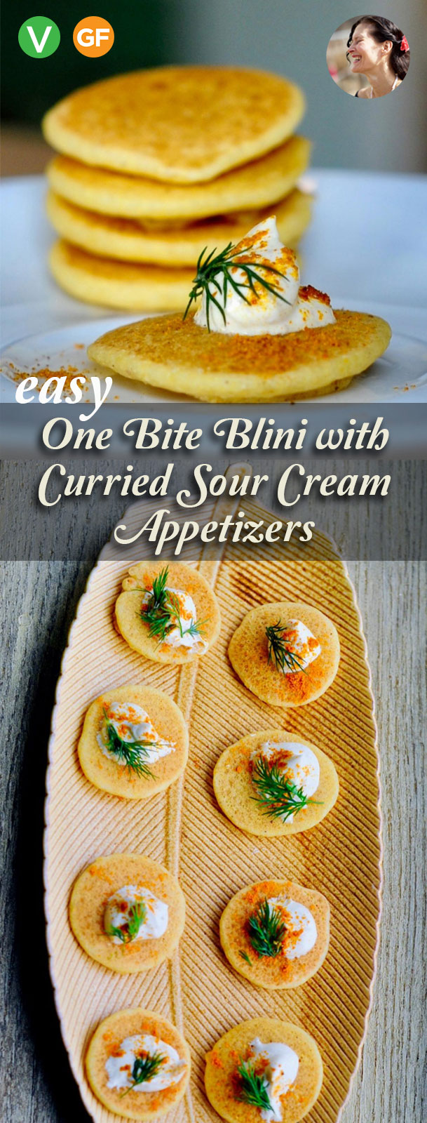 Easy One Bite Blini with Curried Sour Cream Appetizers, Vegan, Gluten Free. Simple. Elegant. Sophisticated. Delicious. Make ahead.