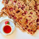 Healthy Strawberries and Cream Granola Bars, Vegan, GF and a cup of tea