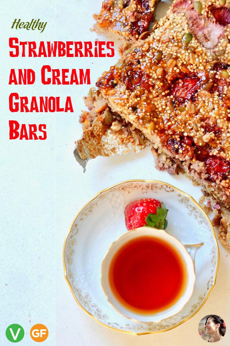 Healthy Strawberries and Cream Granola Bars, Vegan, GF
