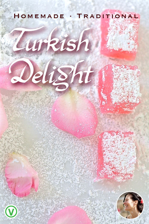 Homemade Traditional Rose Turkish delight-