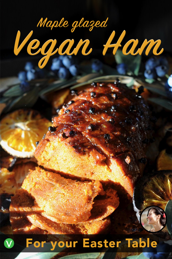Succulent and full of flavor, this Maple Glazed Vegan Ham Roast is the perfect centerpiece to any holiday feast. Made with an easy healthy home-made seitan recipe. #sunnysidehanne #seitan #vegandinner