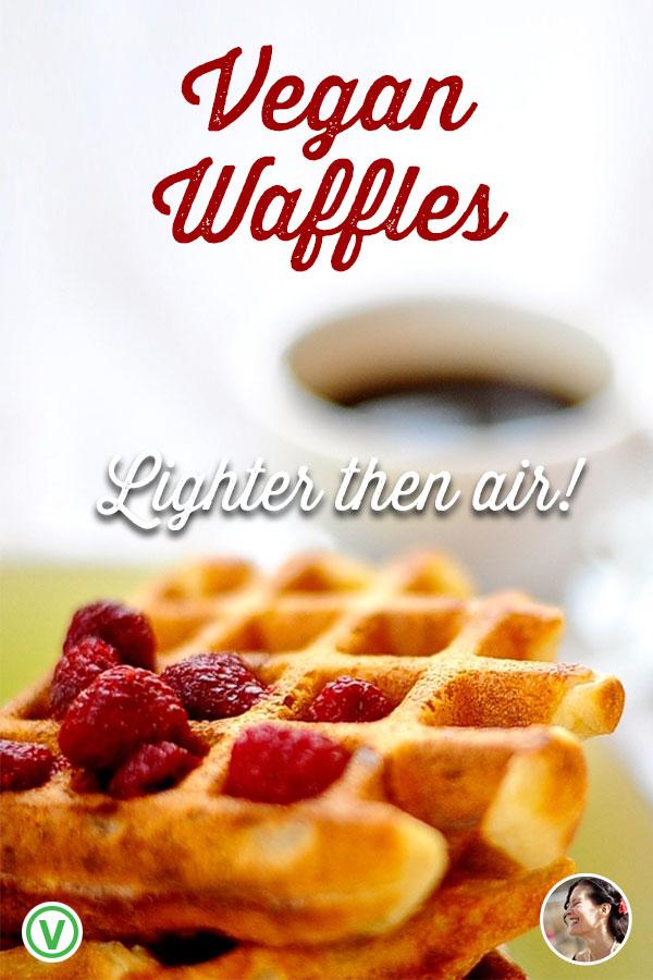 Light and crispy Vegan Yeasted Waffles, that use just one bowl and make the best Sunday morning breakfast you'll ever taste.#veganwaffles, #sinnysidehanne #aquafaba