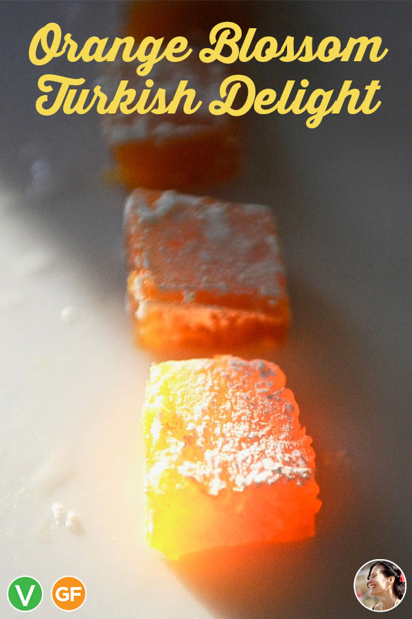 This traditional Orange Blossom Turkish Delight (Lokoum) recipe makes a soft, fragrant, melt in your mouth confection. One bite and you will understand why Edmund betrayed his Family for these magical treats. #sunnysidehanne #turkishdelight #turkishfood #narnia #vegandessert #vegancandy #glutenfreevegan #lokoum