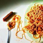 spaghetti green platter fork