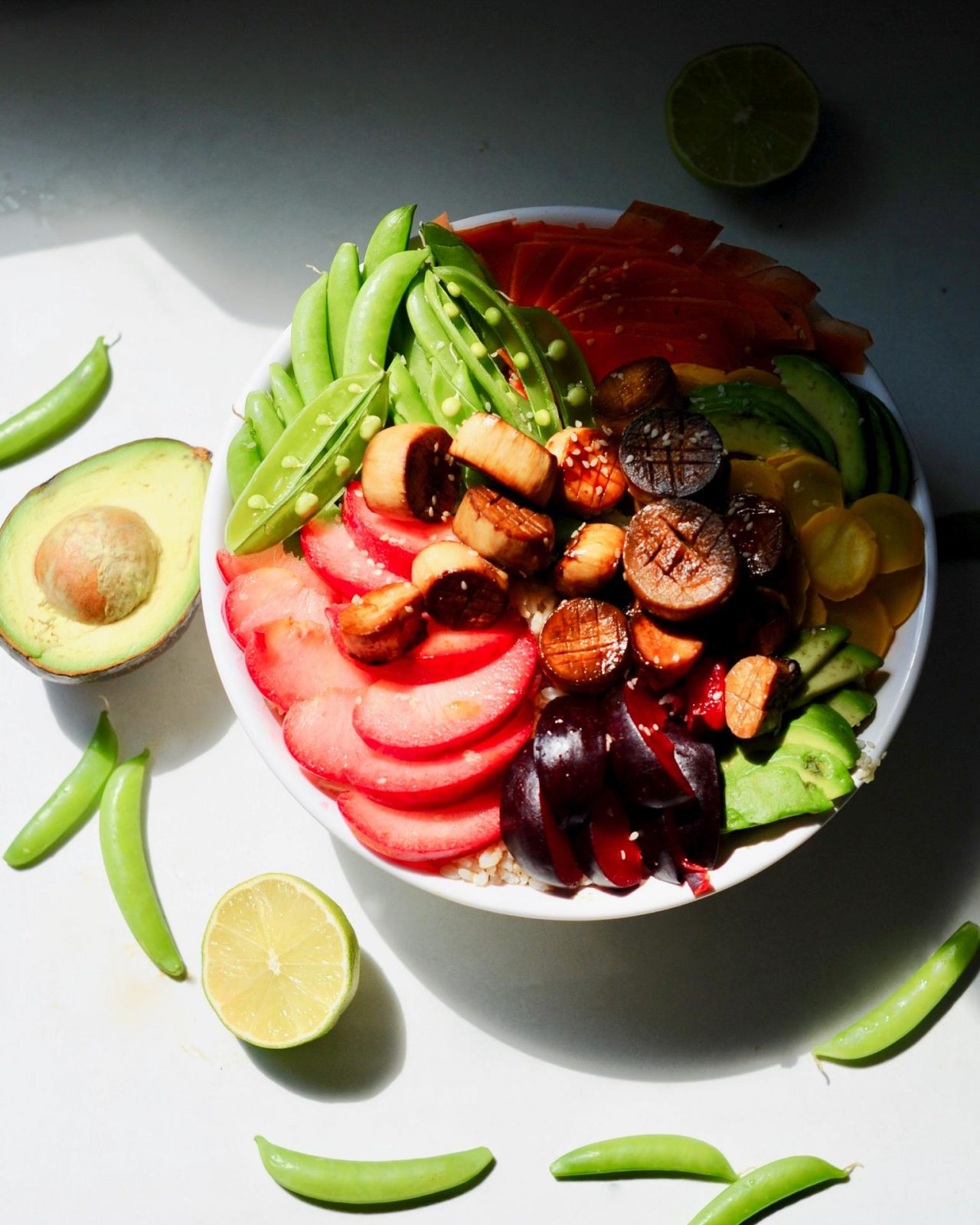 A bowl filled with Plant based Vegan Scallop Poké with Sesame Lime Sauce