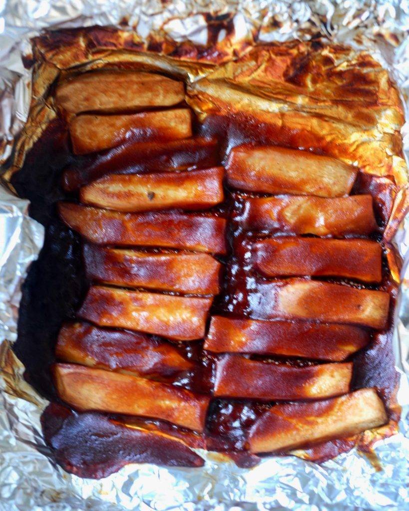 Vegan Char Siu Ribs mushroom ribs in tin foil