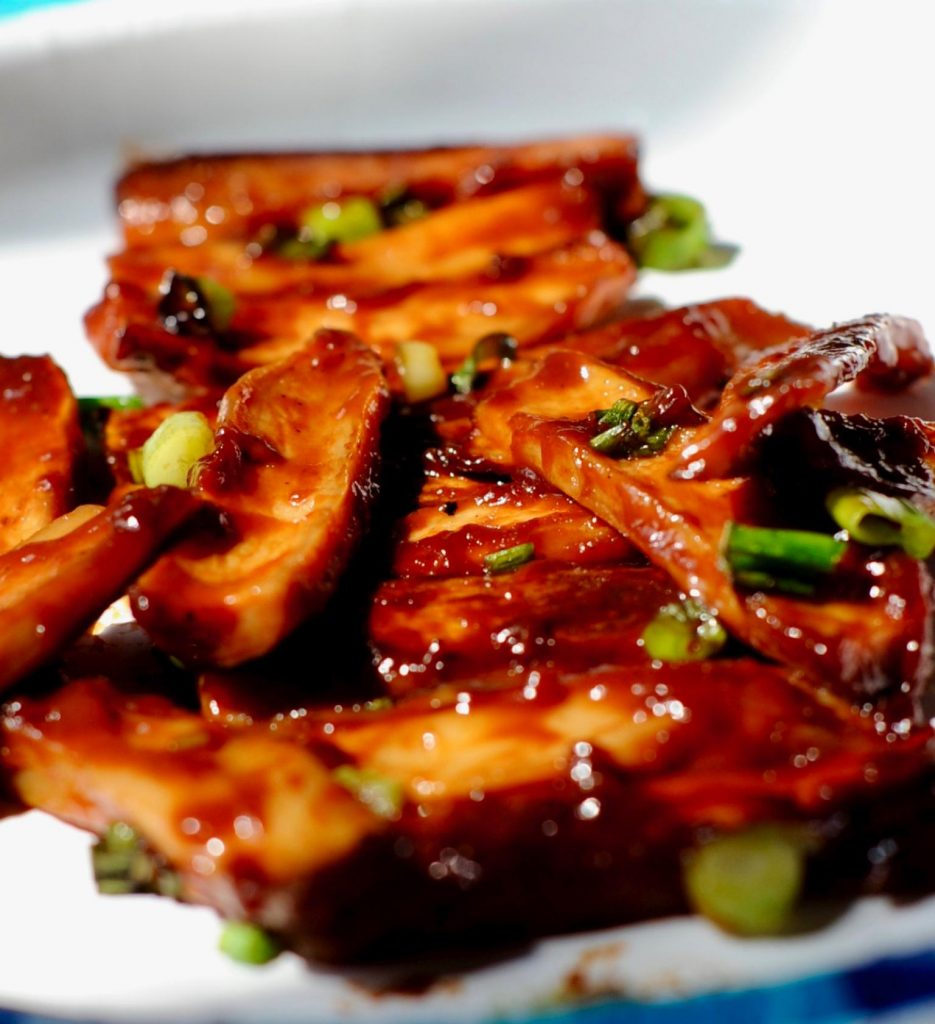 Pile is mushroom Vegan Char Siu ribs